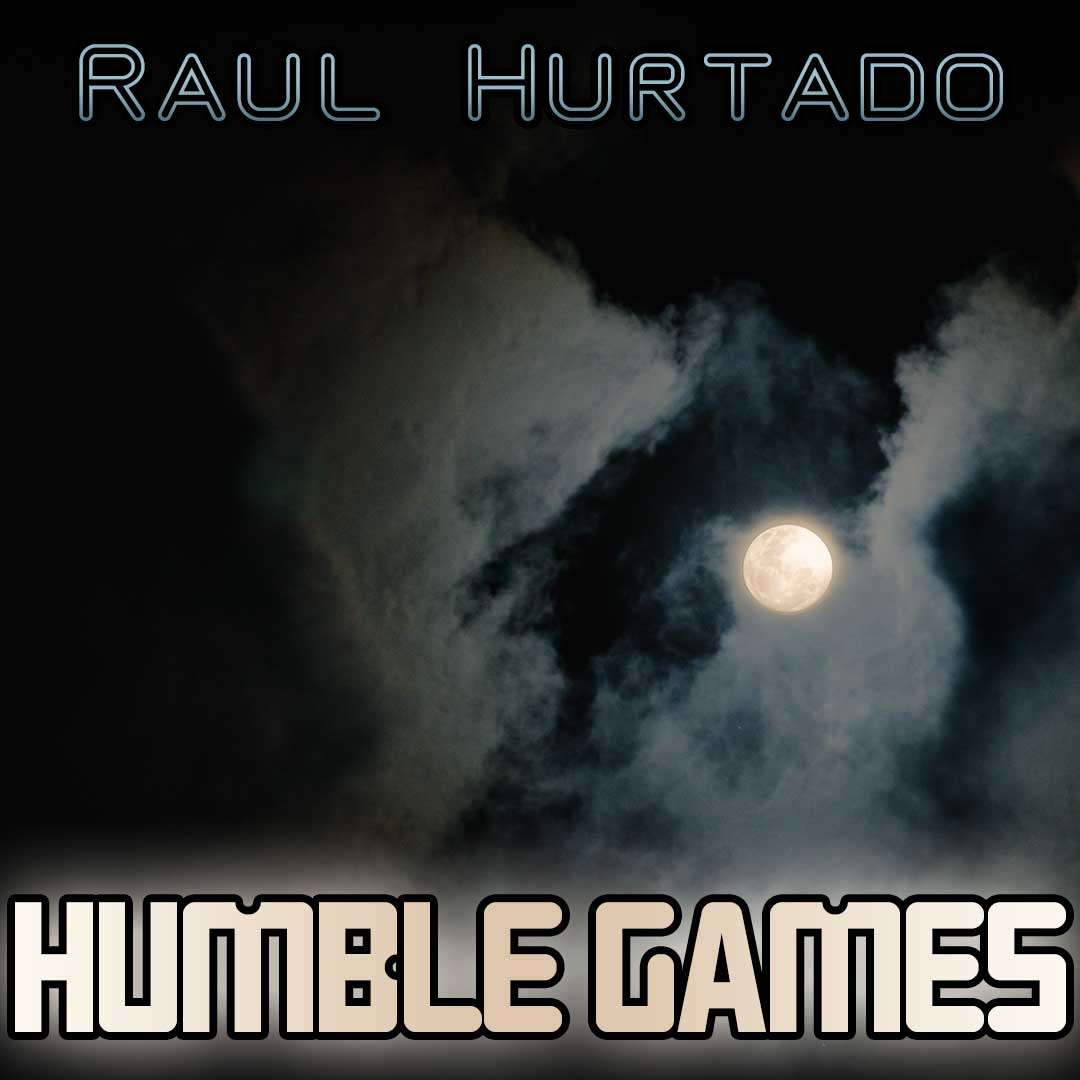 Humble Games artwork showing a bright moon between dark clouds